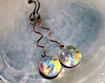 Dichroic Fused Glass Drop Earrings in Translucent Fire Like Colors, Squiggle Antique Copper Earrings, Hypo Allergenic Niobium Wires