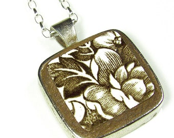 Brown Floral English China Necklace on Sterling Silver Chain