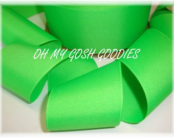 """SOLID NEON LIME Grosgrain Ribbon Hairbow Supplies - 3/8"""" - 7/8"""" - 1.5"""" - 2 1/4"""" - 3""""  width - 5 Yards - Oh My Gosh Goodies Ribbon"""