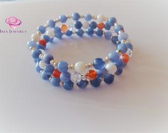 Bracelet set with blue angelite gemstone beads