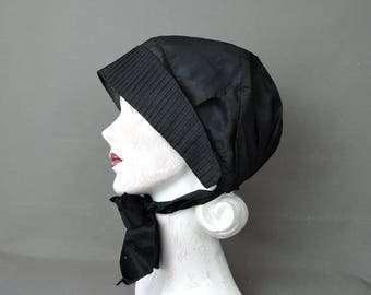 Antique Civil War Mourning Bonnet, Victorian 1800s Black Silk Hat with Wool Lining, AS IS