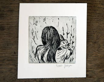 The girl, the rabbit and the fields , original etching, black ink