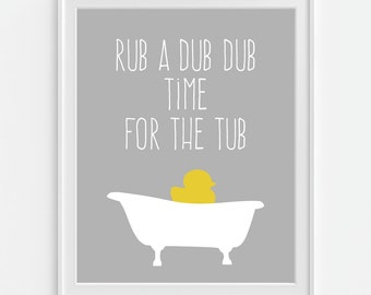 Bathroom Decor, Rubber Duck, Bath Time Art Print U0027Rub A Dub Dub,