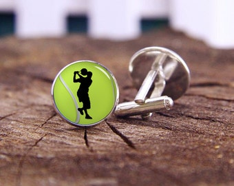 Tennis Cuff Links, Tennis Ball Cufflinks, Custom Sports Cufflinks,Tennis Gifts, Custom Wedding Cuff Links, Groom Cufflinks, Tie Clip Or Set
