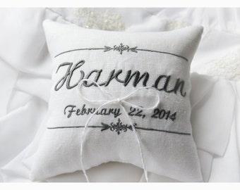 Wedding Ring bearer pillow , wedding pillow , wedding ring pillow, Personalized Custom embroidered ring bearer pillow (R53)