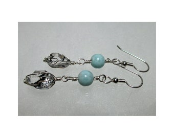ww1372 - LARIMAR & HERKIMER DIAMOND Wirewrap Earrings - Argentium Sterling Silver