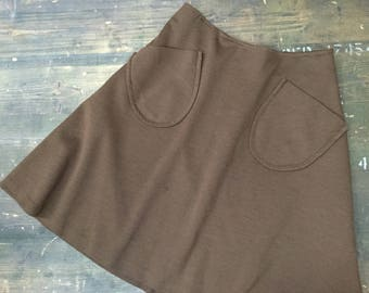 Brown Patch Pocket 1970s Skirt