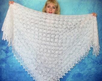 Hand knit Russian shawl,White Orenburg shawl,Wedding shawl,Bridal cover up,Lace goat down shawl,Wool wrap,Fur stole,Kerchief,Platok,Cape