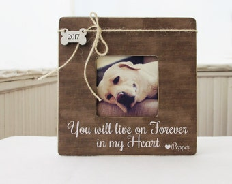 You Will Live On Forever In My Heart Picture Frame, Pet Memory Frame, Pet Loss Gift Idea, Loss of a Pet