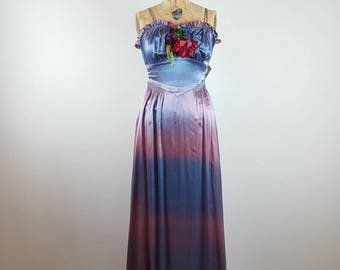 special effects | vintage 1930s silk gown | vtg 30s party dress | applique | extra small/xs