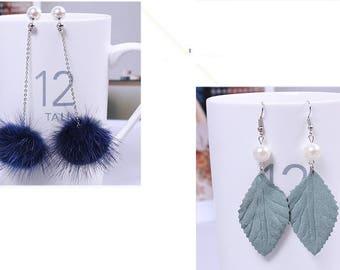 Kit diy earrings tassel leaf wood tassel jewelry diy round shank chain