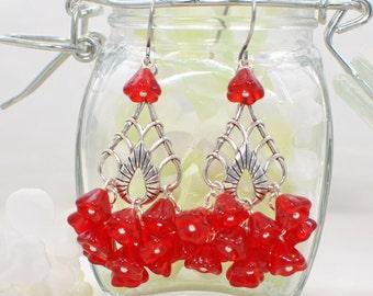 Red Flower Chandelier Earrings Drops O' Crimson -Red Earrings -Red Chandeliers -Flower Jewelry -Gift for Her -Floral Earrings -Earring Gift