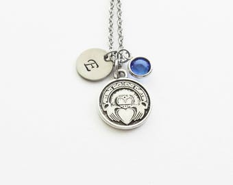 Claddagh Necklace, Irish Necklace, Love, Friendship Gift, Swarovski Birthstone, Silver Initial, Personalized Monogram, Hand Stamped Letter