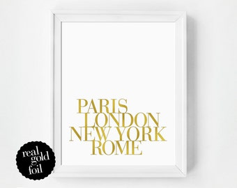Gold Foil Quote Print, Glamour Bedroom Art Print, Real Gold Foil Print, Typography Print, Gift Under 20, Typography Poster, Minimal