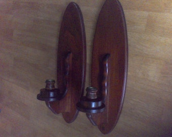 Wall Sconce Wooden Candle holder, Wall decor, Pair