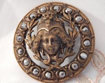 Minerva - Pierced Brass with Facet Cut Steel Border Antique Button