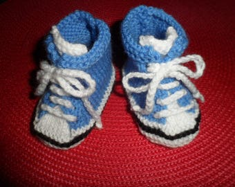 """Baby shoes, sneakers """"blue"""" baby wool (0-3 months)"""