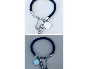 Black fluorescent glow bracelet with feather pendant, jewelry, feather bracelet, lucky