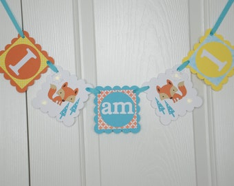 Fox I am 1 Banner, Birthday Party, Fox Theme, 1st Year Party, Highchair Banner, Orange, Yellow,Light Teal & White Banner