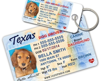 Texas Driver License Custom Pet ID Tags and Wallet Card - Dog ID Tag - Personalized Pet ID Tags