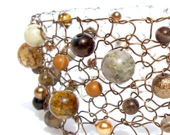 Agate Bracelet, Copper Cuff Bracelet, Arm Cuffs, Jasper Bracelet, Gemstone Bracelet, Brown Bracelet, Beaded Bracelets, Handmade Jewelry Gift