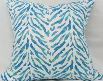 Blue & white pillow cover. Waverly Reef twill decorative pillow cover. 20x20 blue pillow cover Blue coral reef pillow cover Beach pillow