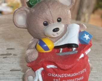 1992 Hallmark Granddaughter's First Christmas Ornament Teddy Bear Vintage