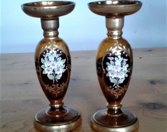 A pair Of Vintage Hand Decorated Amber Venetian Chrystal Glass Candle Holders With 18K Gold Trim # Enameled #Home Decor