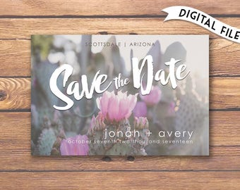 Cactus Flower Save The Date | Desert Wedding