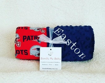 New England Patriots Baby Blanket Football Minky NAME Embroidered Large PERSONALIZED Boy Texans Falcons Cardinals Lions