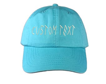 Custom Dad Hat Embroidered, DRIZZY FONT, Champagne Papi, Your text Here Personalized Custom Baseball Cap, Choose Your Text, Cyan Blue