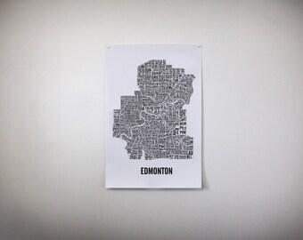 Edmonton Neighbourhoods City Map - Edmonton Map - Edmonton Art - Typography Map - Edmonton Gift