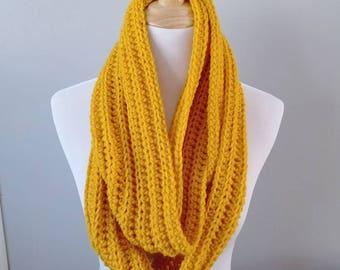 Crochet Infinity Scarf - Golden Yellow - Mustard - Winter - Hygge