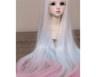 BJD handmade gradient/ ombre color long straight wig white mint blue & pink