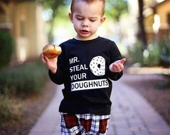 Mr Steal Your Doughnuts Toddler Shirt Long Sleeve Shirt, Toddler Shirts, toddler girl long sleeve, toddler boy long sleeve,kids long sleeve