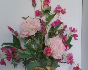 Wallbasket with silk peonies and sweetpeas