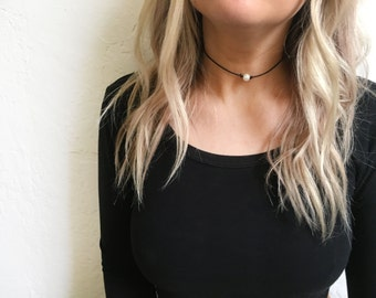 Black pearl choker necklace, small pearl choker, black choker, black choker necklace, pearl necklace