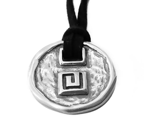Greek Key Sterling Silver Necklace With Black Leather Unisex
