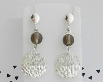 Earrings silver sequin and beads in smoky quartz