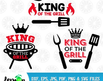 King of the Grill SVG, BBQ Monogram, BBQ Graphic, Grill Clipart, King of the Grill, Instant Download, 65