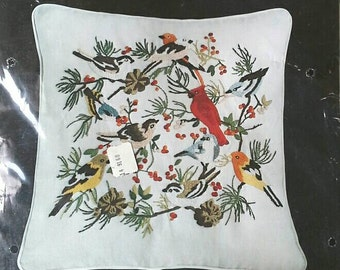 American Birds Dimensions Crewel Embroidery Kit for 16 X 16 Pillow Cardinal, Chickadee, Finches
