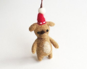 Miniature dog Christmas ornament : needle felted puppy - light brown with a red hat, felt animal charm