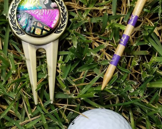 Memorial Golf Ball Marker and Tool, Ashes in Glass, Pet Memorials, Cremation Jewelry