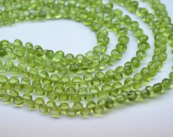 """AAAA-Calibrated 5mm-Half Strand 4"""" 34 Beads-Natural Untreated Peridot Faceted Onion Shape Briolette Beads"""