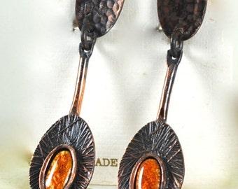 Vintage Copper Earrings Made in Spain
