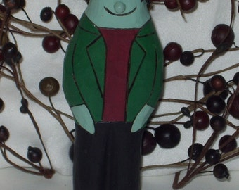 Handcarved Halloween FLAT PEOPLE -  FRANKENSTEIN - Wooden Frank