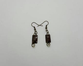 Copper rectangle earrings  (ER096)