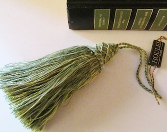 Vintage Houles Key Tassel, French Key Tassel, St. Germanin Tassel, Green Key Tassel, French Chic Decor