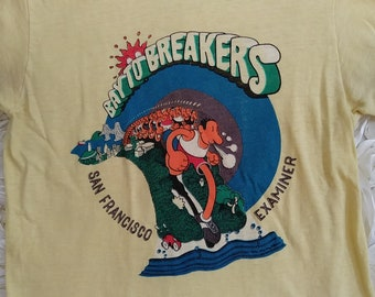 Vintage 70s San Francisco Examiner Bay To Breakers Colorful Cartoon Graphic T Shirt Size S
