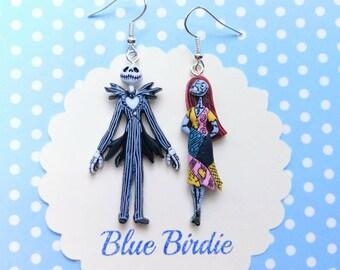 Nightmare before Christmas jewelry Sally and Jack skellington earrings Disney jewelry Halloween earrings dangle earrings Disney gifts